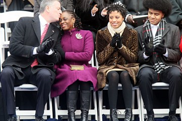 Mayor Bill de Blasio with wife  Chirlane McCray, daughter Chiara, and son Dante