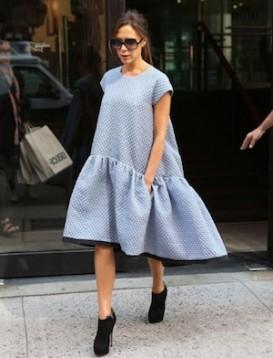 Beckham in New York, wearing her own design
