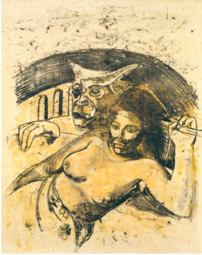Tahitian Woman with Evil Spirit, c. 1900. Oil transfer drawing. Courtesy of the MoMA