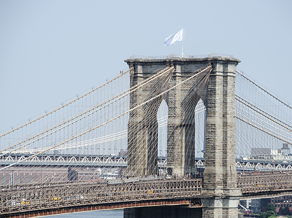 Mysterious White Flag On Brooklyn Bridge