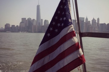 Lower Manhattan with American Flag