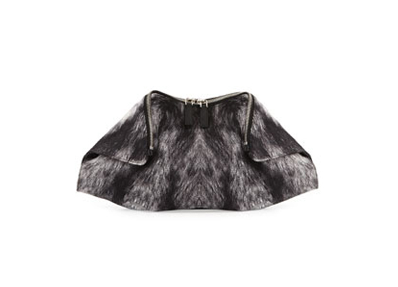 Alexander McQueen De-Manta Fur-Print Clutch Bag, BlackGray