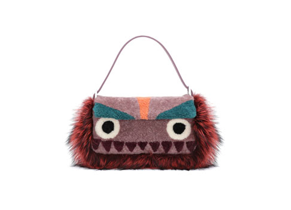 Fendi Baguette Shearling Fur Monster Bag, Purple Multi