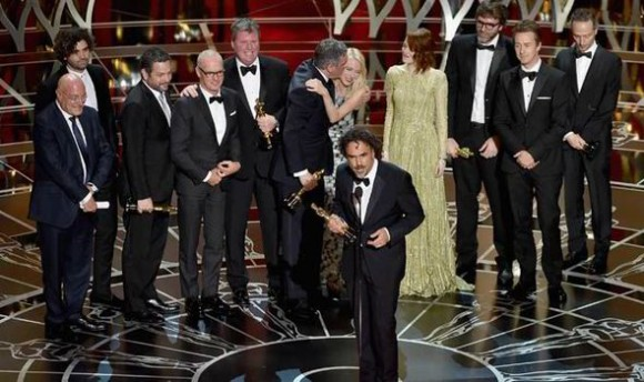 The Birdman cast after scooping up the award for Best Picture.  Photo: Courtesy of express.co.uk