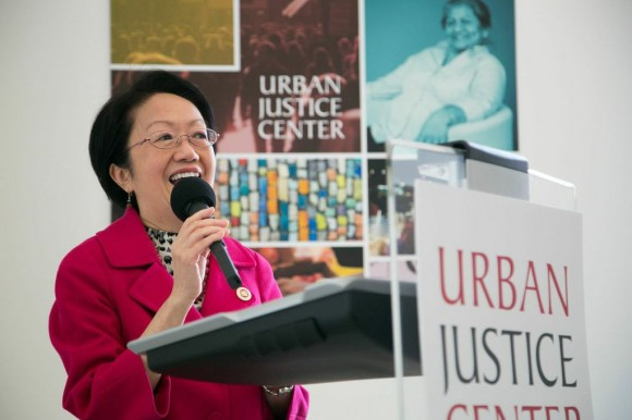 Margaret Chin speaks at the unveiling