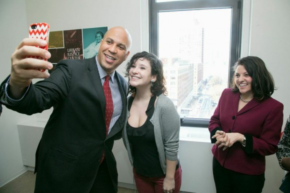 Sen. Booker snaps a selfie with a fan