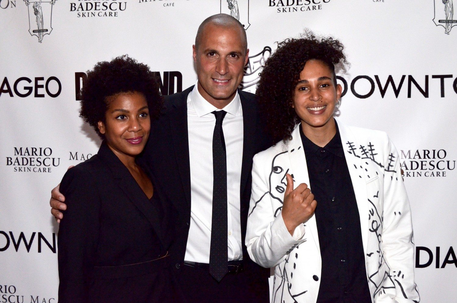 Nigel Barker with artist Shantell Martin (R) and Zorina Price