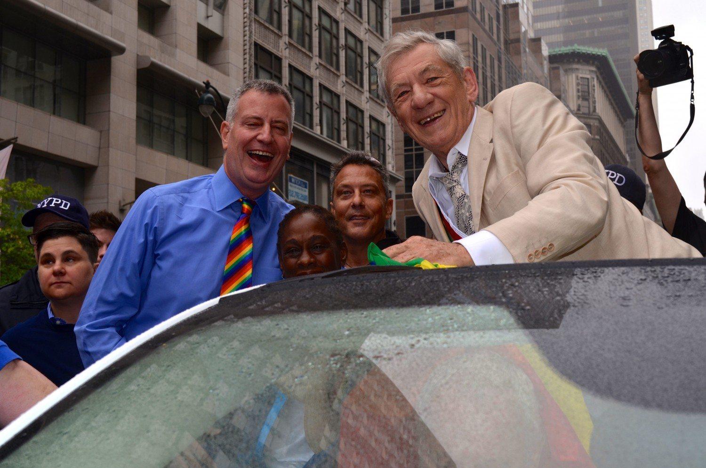 Sir Ian McKellen with Mayor Bill DeBlasio at the Pride March on June 28.