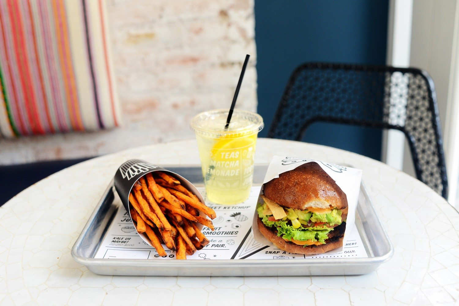 Guac Burger_Air Baked Sweet Potato Fries_Seasonal Lemonade