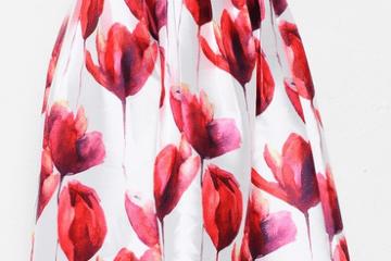 Tulip Print Midi Skirt