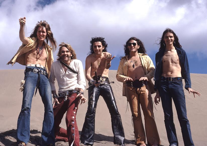 Neal Smith, Glen Buxton, Alice Cooper, Michael Bruce and Dennis Dunaway in the Canary Islands. 1972 by Cindy Smith Dunaway