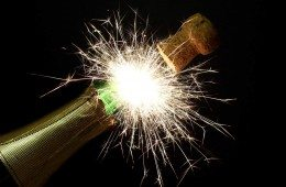 New Year's fireworks with champagne