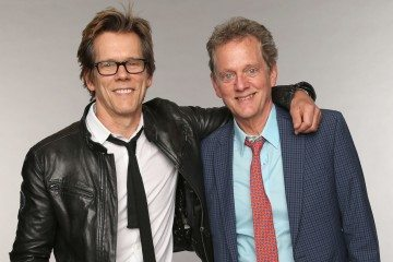 NASHVILLE, TN - JUNE 05:  (L-R) Kevin Bacon and Michael Bacon of the Bacon Brothers pose at the Wonderwall portrait studio during the 2013 CMT Music Awards at Bridgestone Arena on June 5, 2013 in Nashville, Tennessee.  (Photo by Christopher Polk/Getty Images for Wonderwall)