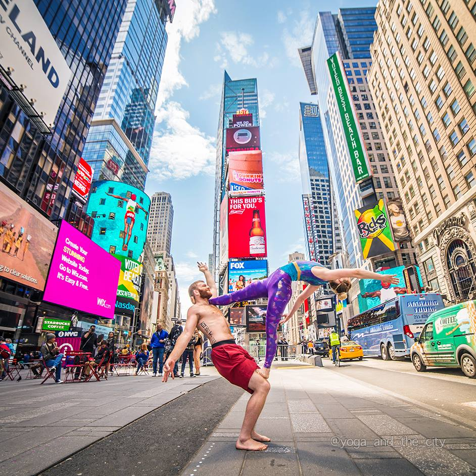 Sean and his Acro Partner in Times Square