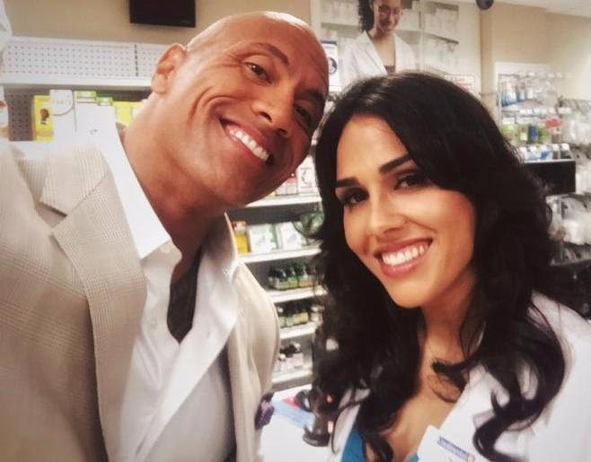 "Arlyn with Dwayne ""The Rock"" Johnson on-set"
