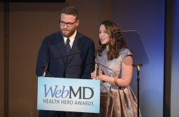 NEW YORK, NY - NOVEMBER 03:  People's Choice Award Winners Seth Rogen (L) and Lauren Miller Rogen speak onstage during WebMD Health Heroes Awards on November 3, 2016 in New York City.  (Photo by Jason Kempin/Getty Images for WebMD)