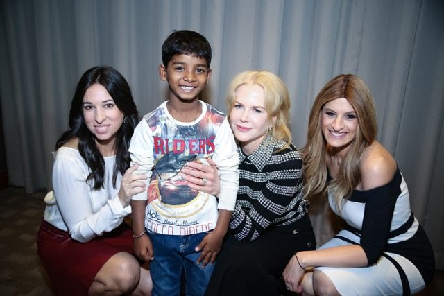 The Moms, Denise Albert and Melissa Musen Gerstein, with Nicole Kidman and Sunny Pawar / Photo: Jonathan B