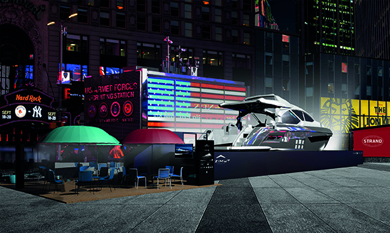Times Square Hosts a 60-Foot-Long Yacht During NYCxDesign